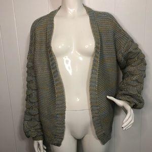 Nikka K Chunky Knit Puff Sleeve Open Cardigan